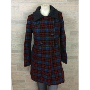 Free People Red Blue Plaid Coat Wool Size 10